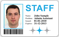 Sample ID Card for Staff